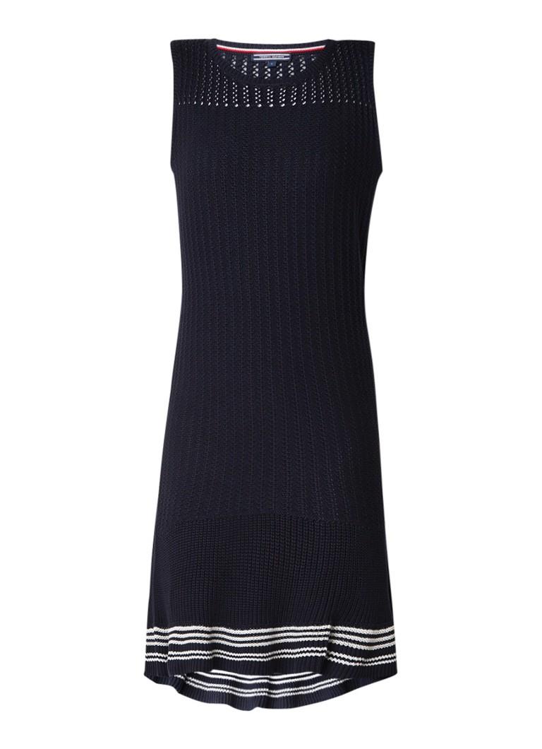 Tommy Hilfiger Valeska grofgebreide jurk met strepen donkerblauw