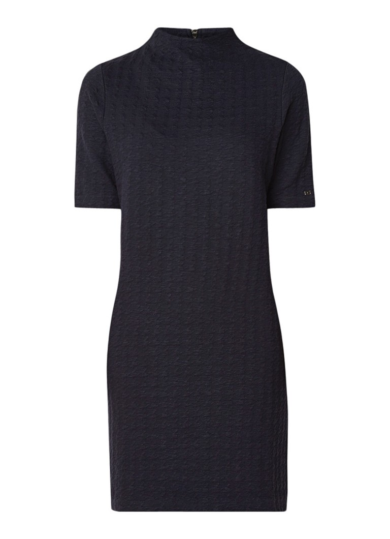 Tommy Hilfiger Lorenza midi-jurk in katoenblend met ingeweven structuur donkerblauw