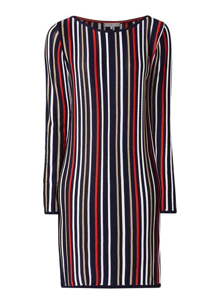 Tommy Hilfiger Verdie fijngebreide midi-jurk in katoenblend met streepdessin multicolor