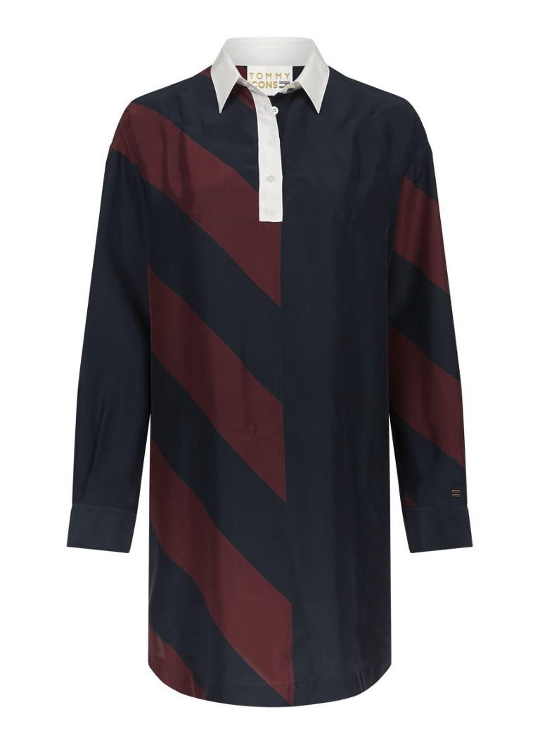 Tommy Hilfiger Rugby gestreepte blousejurk van zijde donkerblauw
