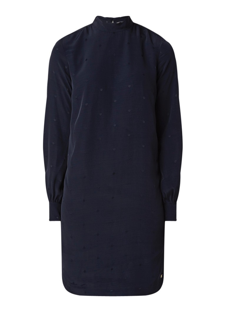 Tommy Hilfiger Susanna tuniekjurk van chiffon met strikkraag donkerblauw