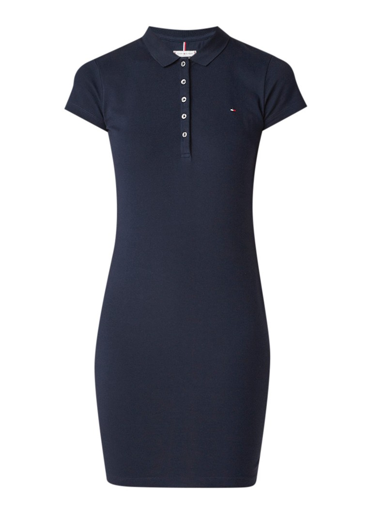 Tommy Hilfiger Heritage slim fit polo jurk van piqué katoen donkerblauw