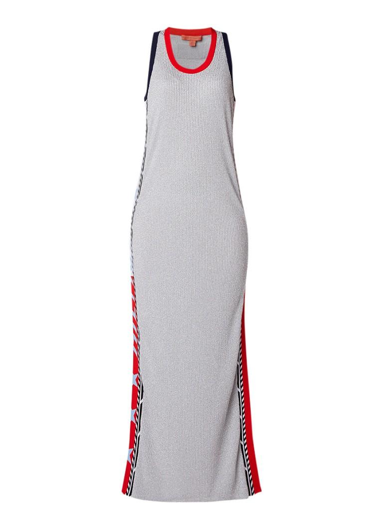 Tommy Hilfiger Ribgebreide maxi-jurk met lurex en split zilver