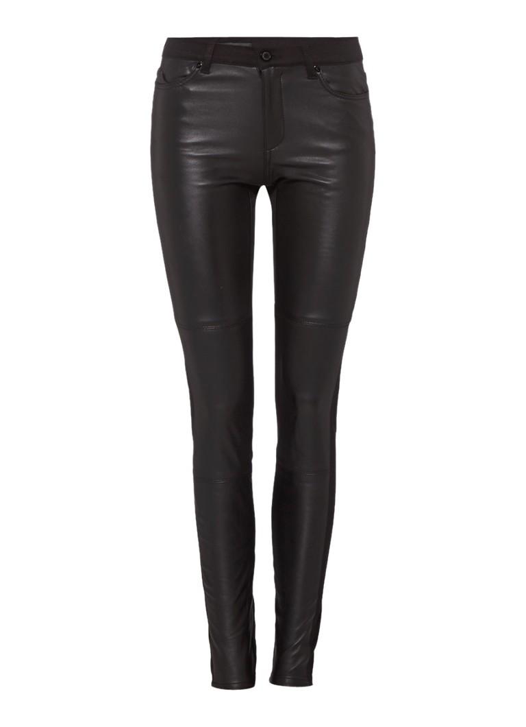 ARMA Mid rise skinny jeans met voorpand van leer