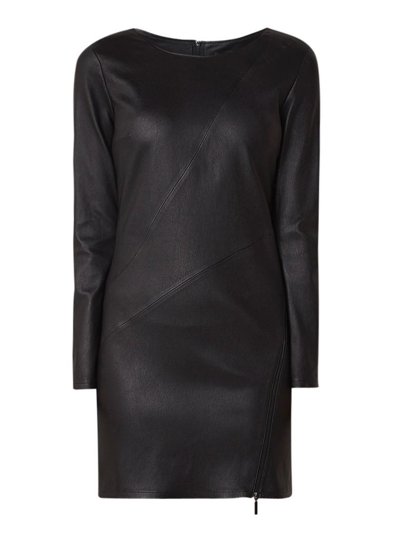 ARMA Scarlett kokerjurk van lamsleer met stretch zwart