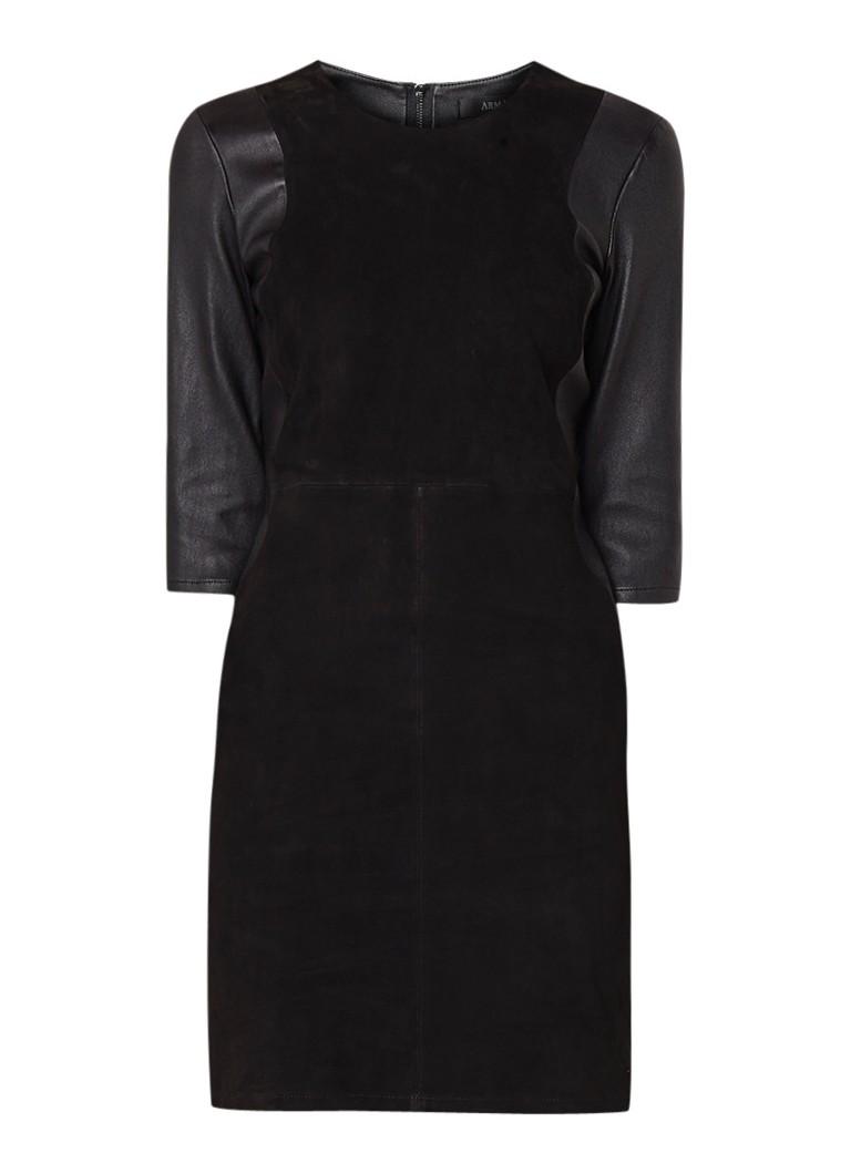 ARMA Mimmi mini-jurk van lamsleer en suède met stretch zwart
