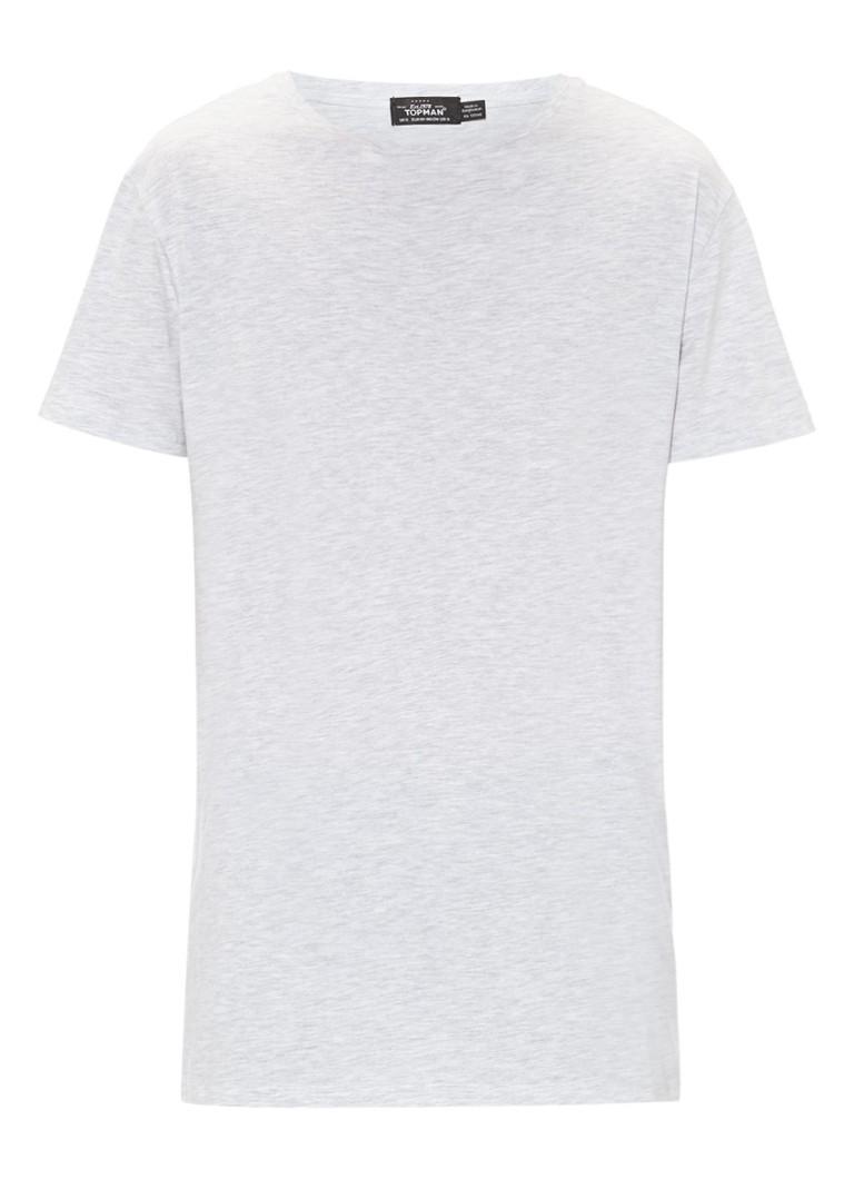 TOPMAN Katoenen longline T-shirt in lichtgrijs