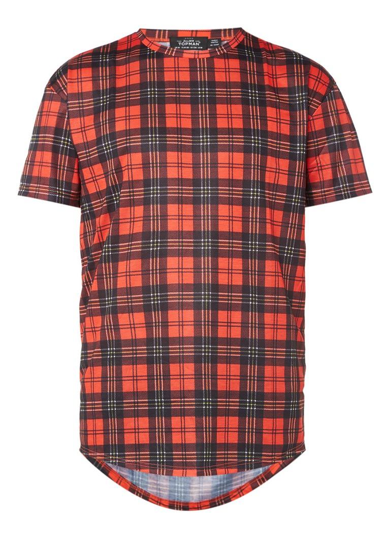 TOPMAN Oversized T-shirt met rode Tartanruit