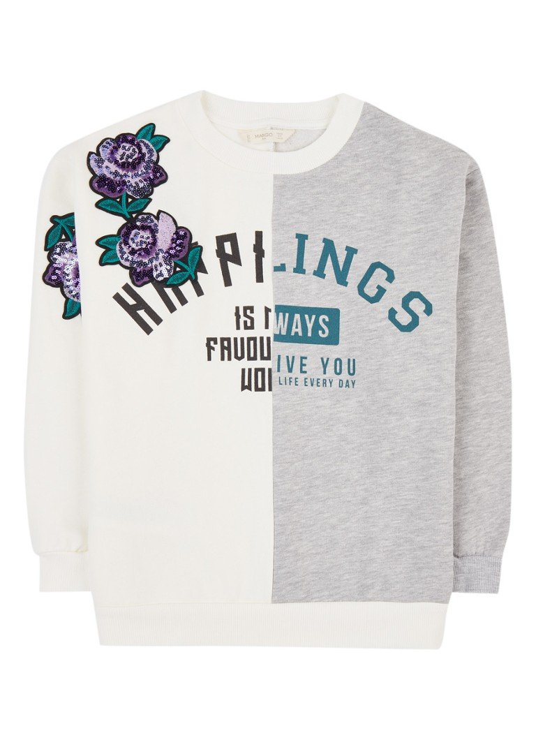 MANGO Lucy sweater met tekstopdruk en patches
