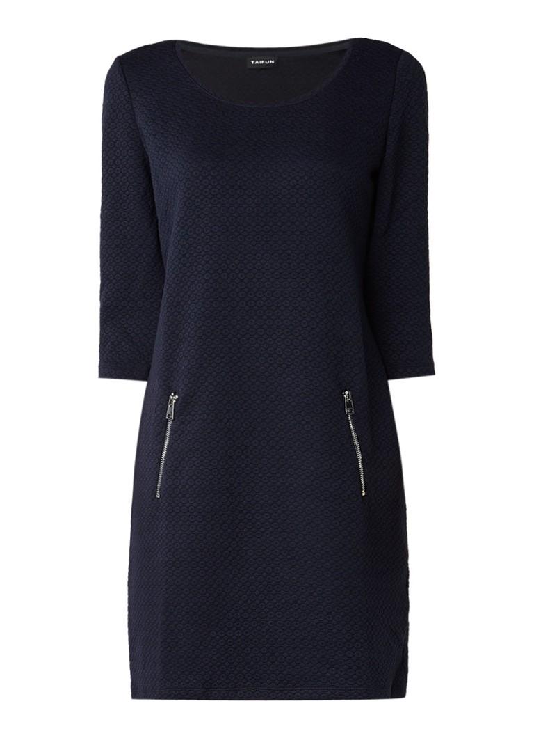 Taifun Jersey jurk met ingeweven structuur donkerblauw