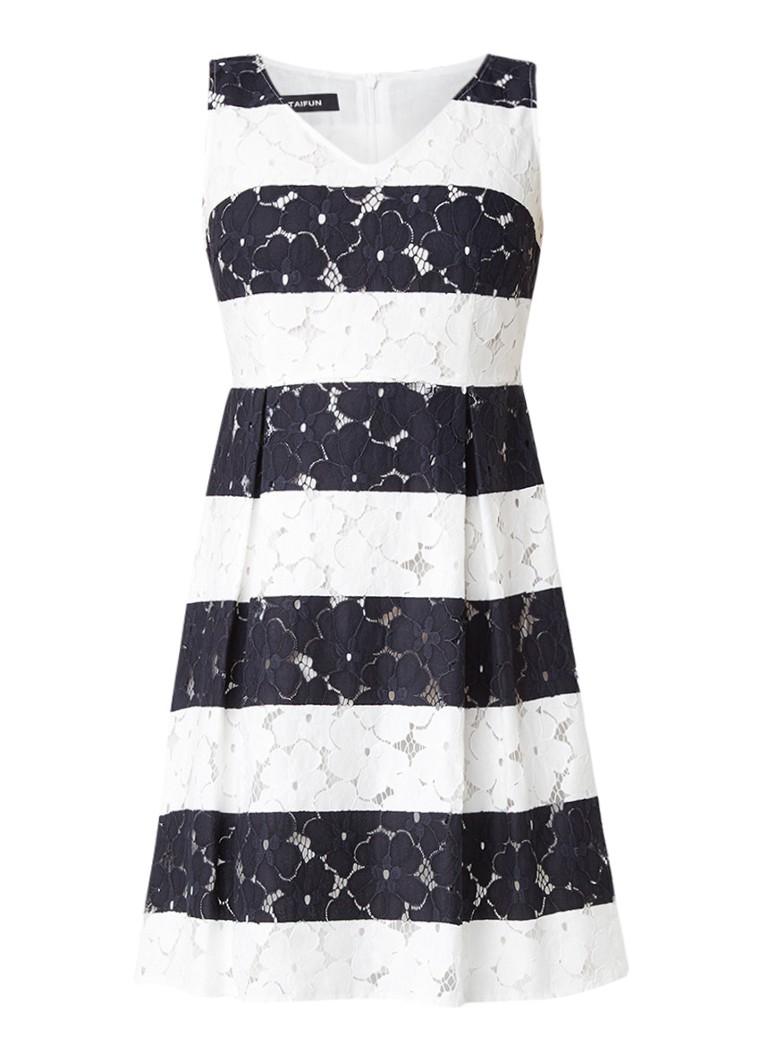 Taifun Gestreepte A-lijn jurk van gebloemd kant donkerblauw