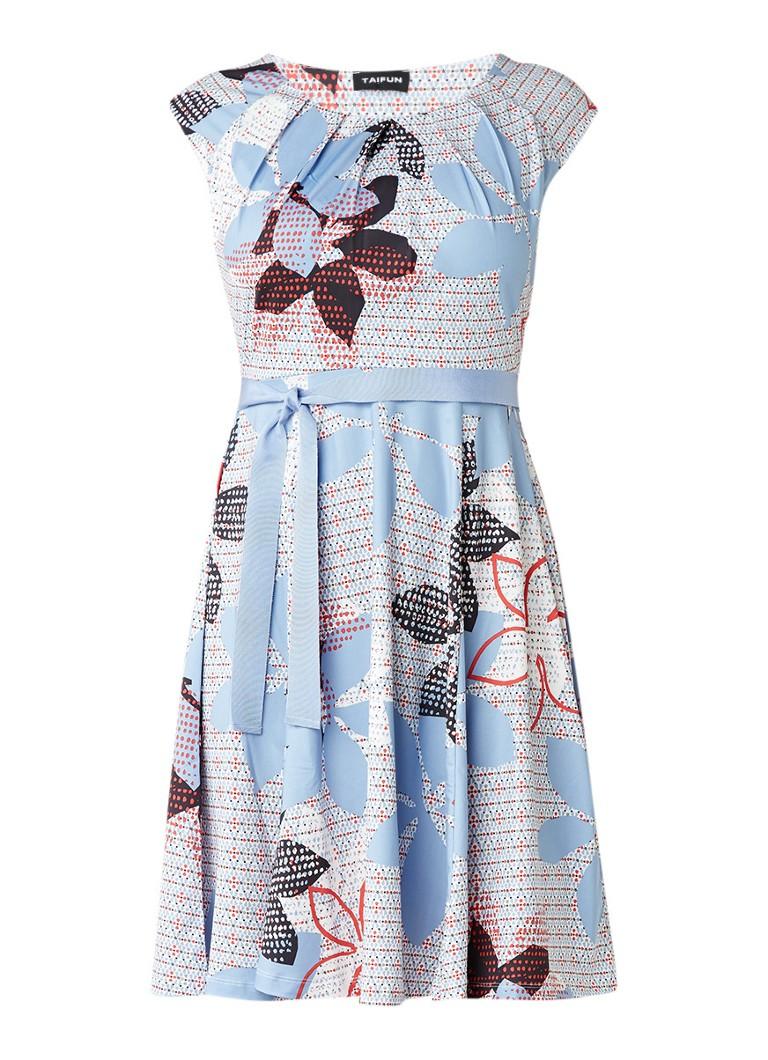 Taifun A-lijn jurk met dessin en ceintuur lichtblauw