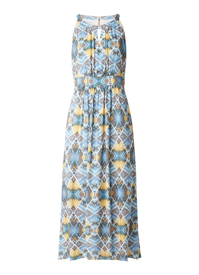 Taifun Maxi-jurk met print en keyhole-detail staalblauw