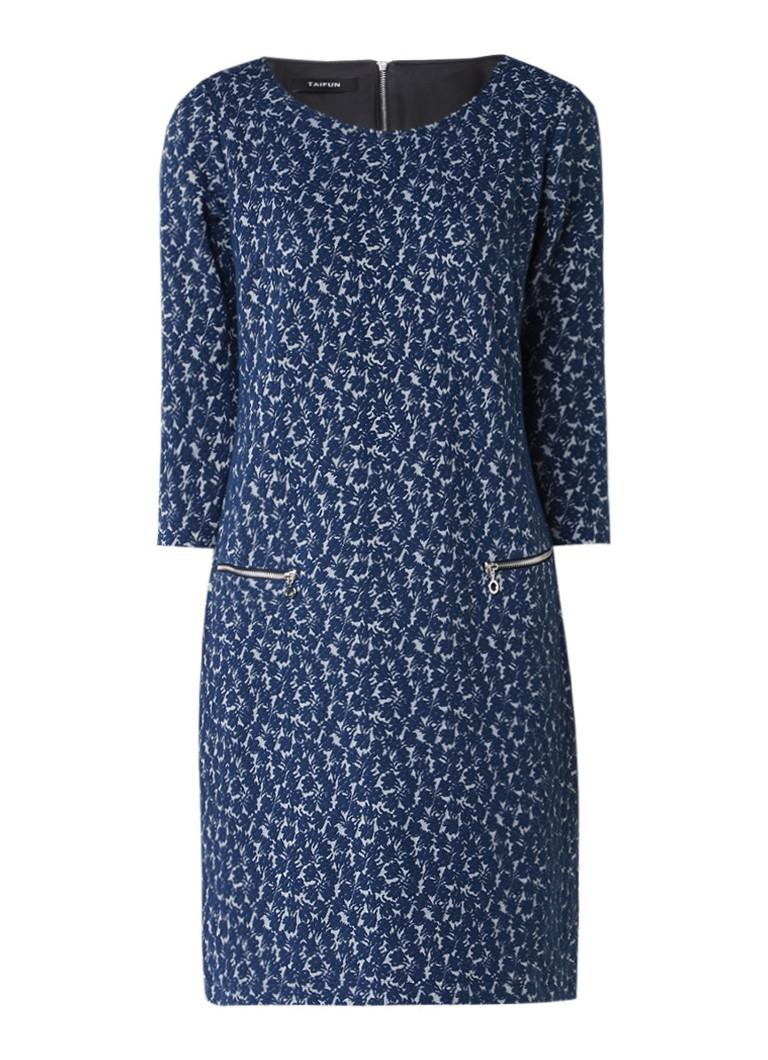 Taifun Jacquard jurk met driekwartsmouw en ritszakjes blauw