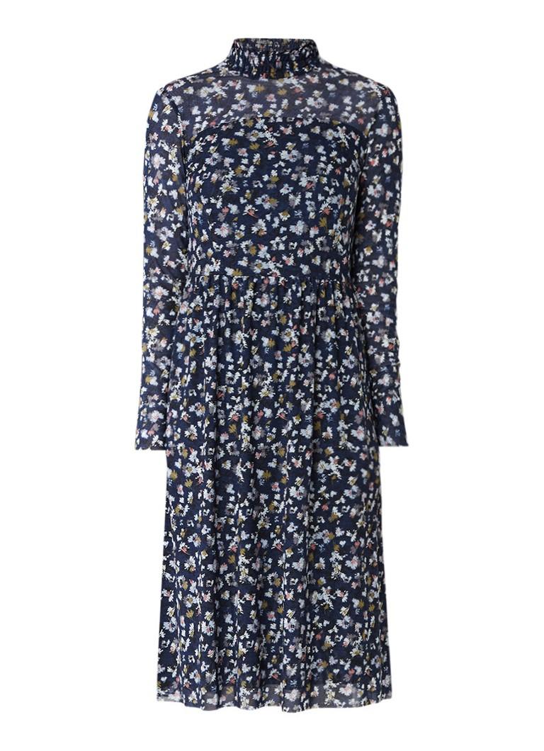 Taifun Midi-jurk met opstaande kraag en bloemendessin donkerblauw