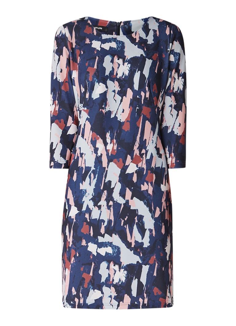 Taifun Midi-jurk met ritszak en dessin donkerblauw