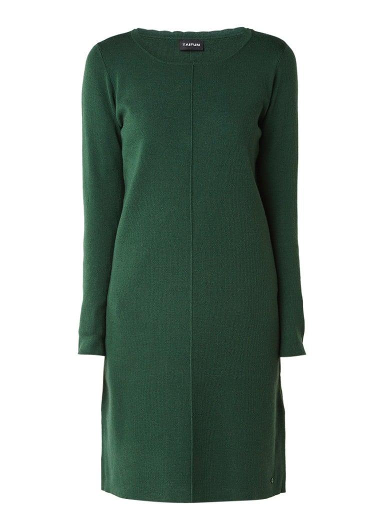 Taifun Fijngebreide jurk in wolblend groen