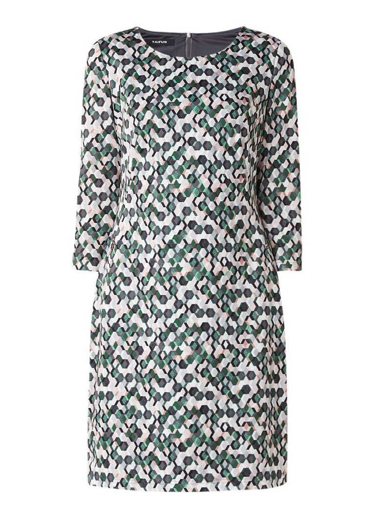 Taifun Jersey jurk met grafisch dessin groen