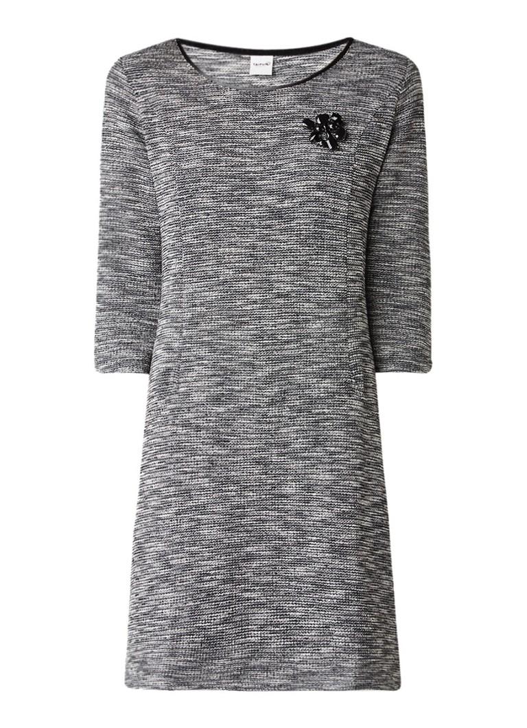 Taifun Gemêleerde jurk met structuur en broche zwart