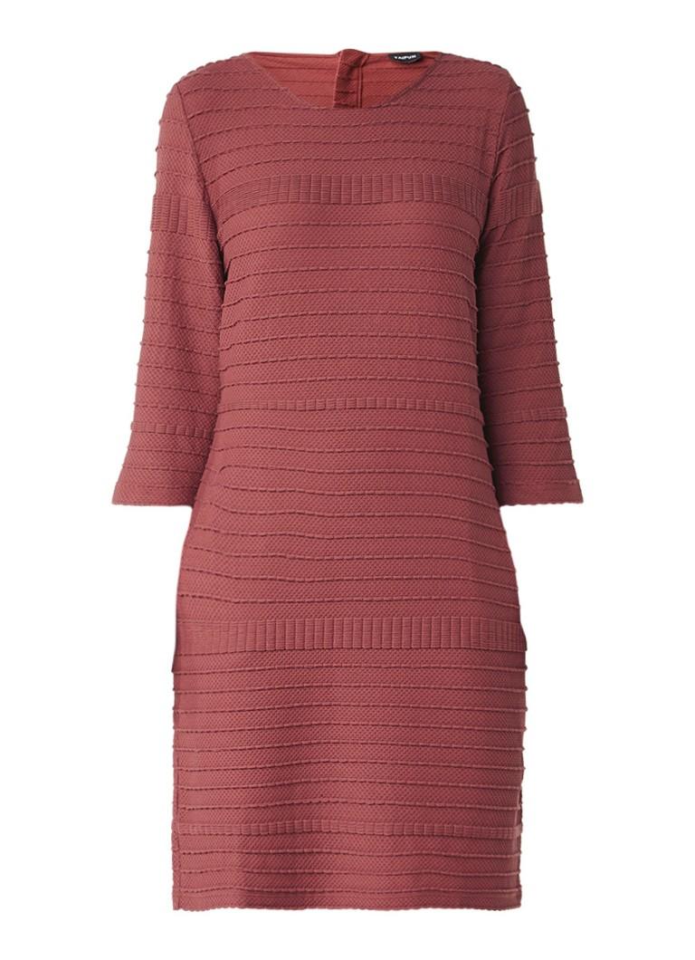 Taifun Jersey jurk met structuurdessin en ritssluiting donkerrood
