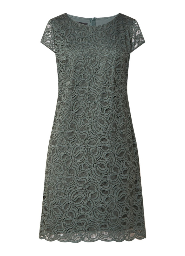 Taifun Midi-jurk met overlay van kant olijfgroen