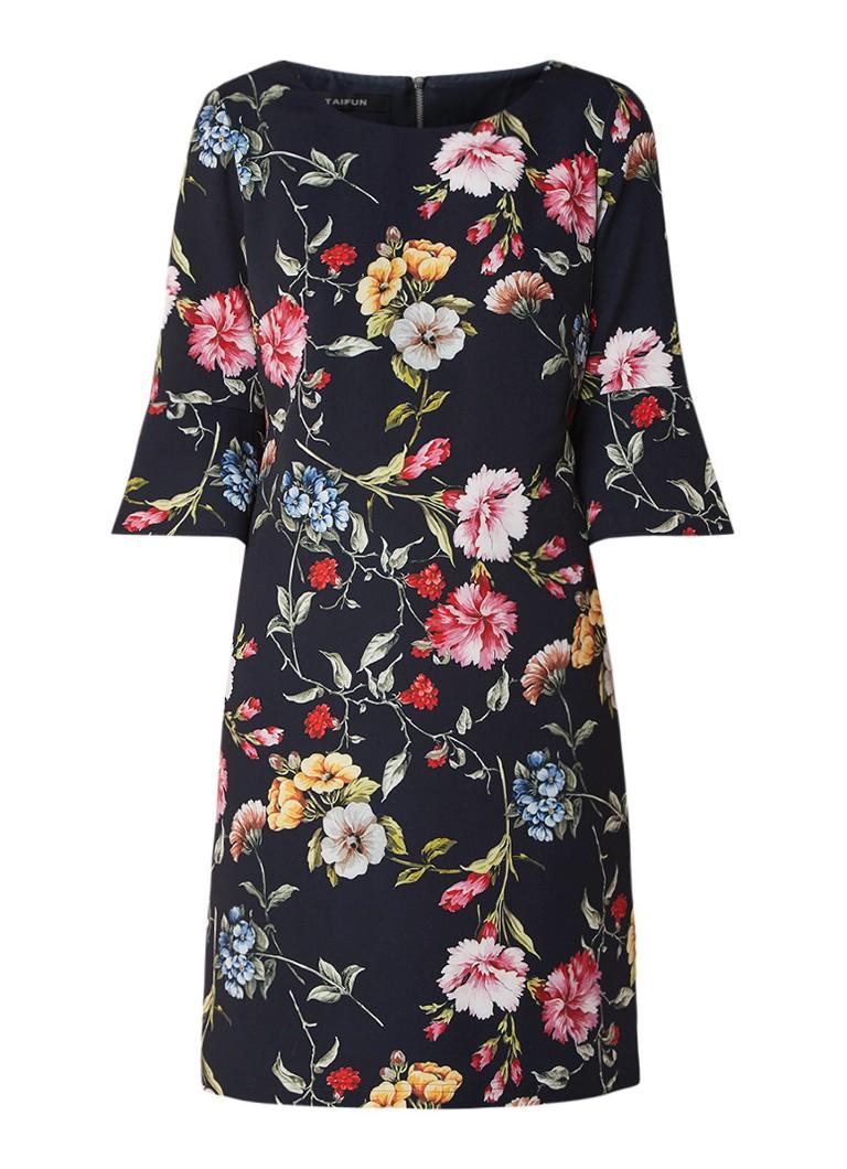Taifun Midi-jurk met bloemendessin en klokkende mouw zwart