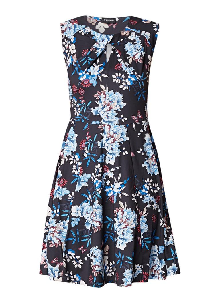 Taifun A-lijn jurk met stretch en bloemendessin donkerblauw