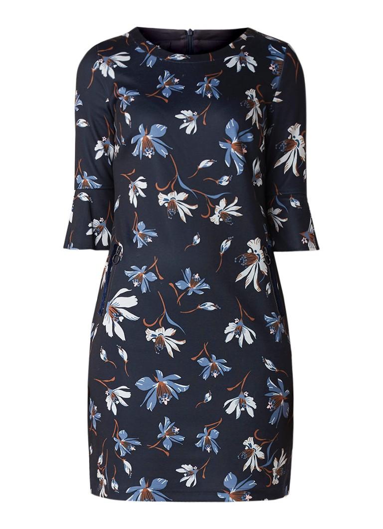 Taifun Mini-jurk met bloemendessin en ritszakken donkerblauw