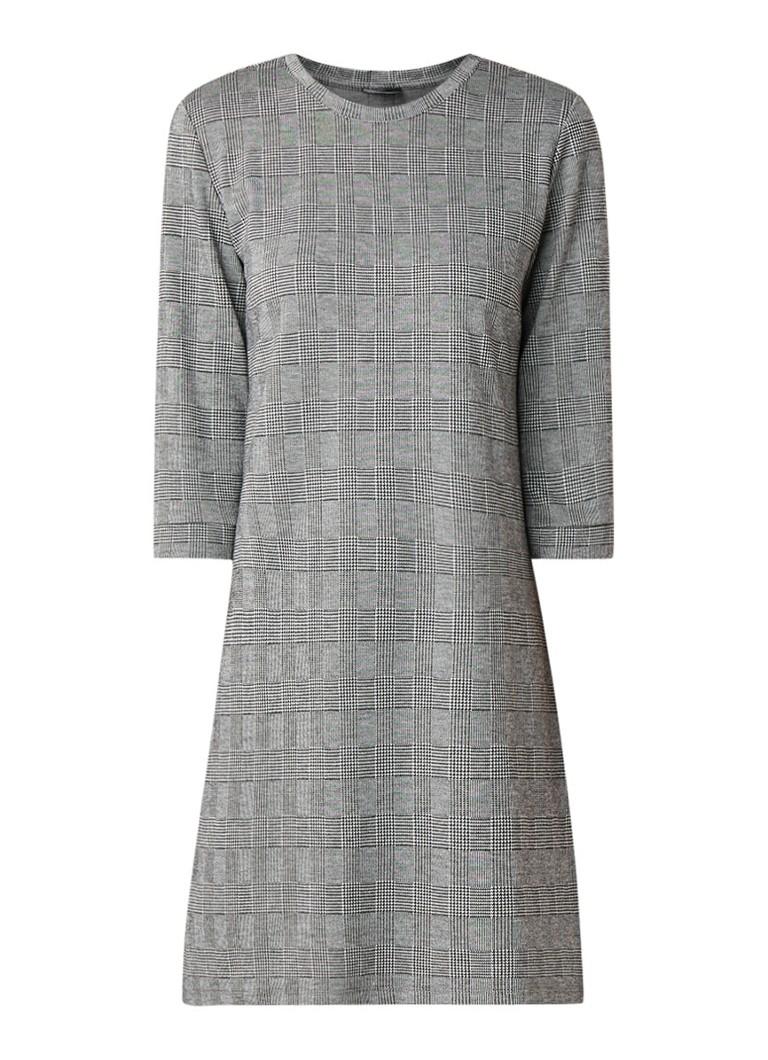 Taifun Fijngebreide jurk met driekwartmouw en dessin grijs