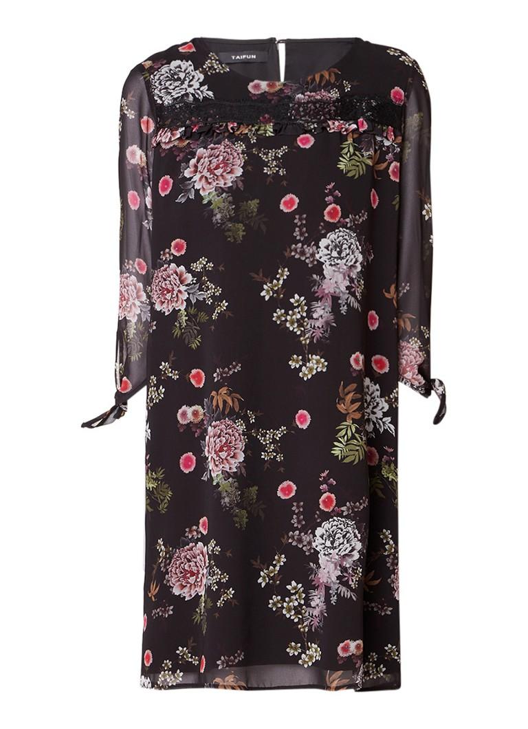 Taifun Midi-jurk met bloemendessin en strikmanchet zwart