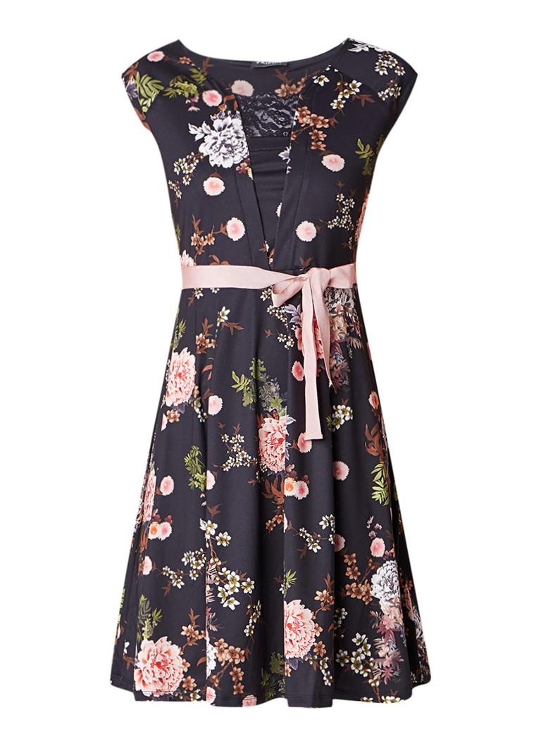 Taifun A-lijn jurk met bloemenprint en strikceintuur zwart