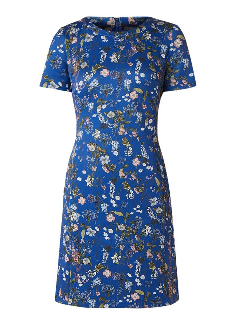 Taifun Mini-jurk van neopreen met bloemendessin blauw