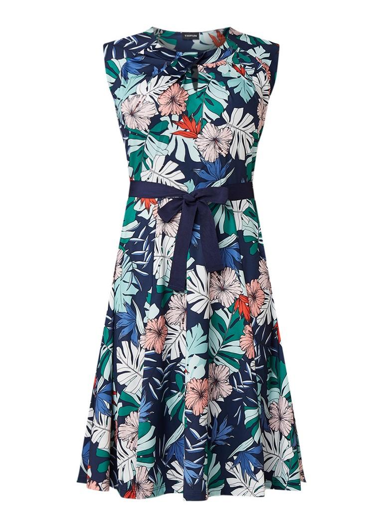 Taifun Midi-jurk met bloemendessin en strikceintuur donkerblauw
