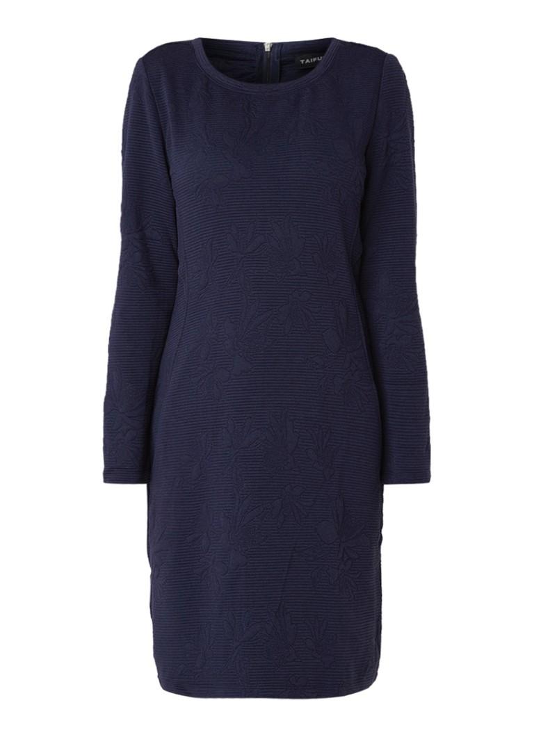 Taifun Jersey jurk met ribstructuur en steekzakken donkerblauw