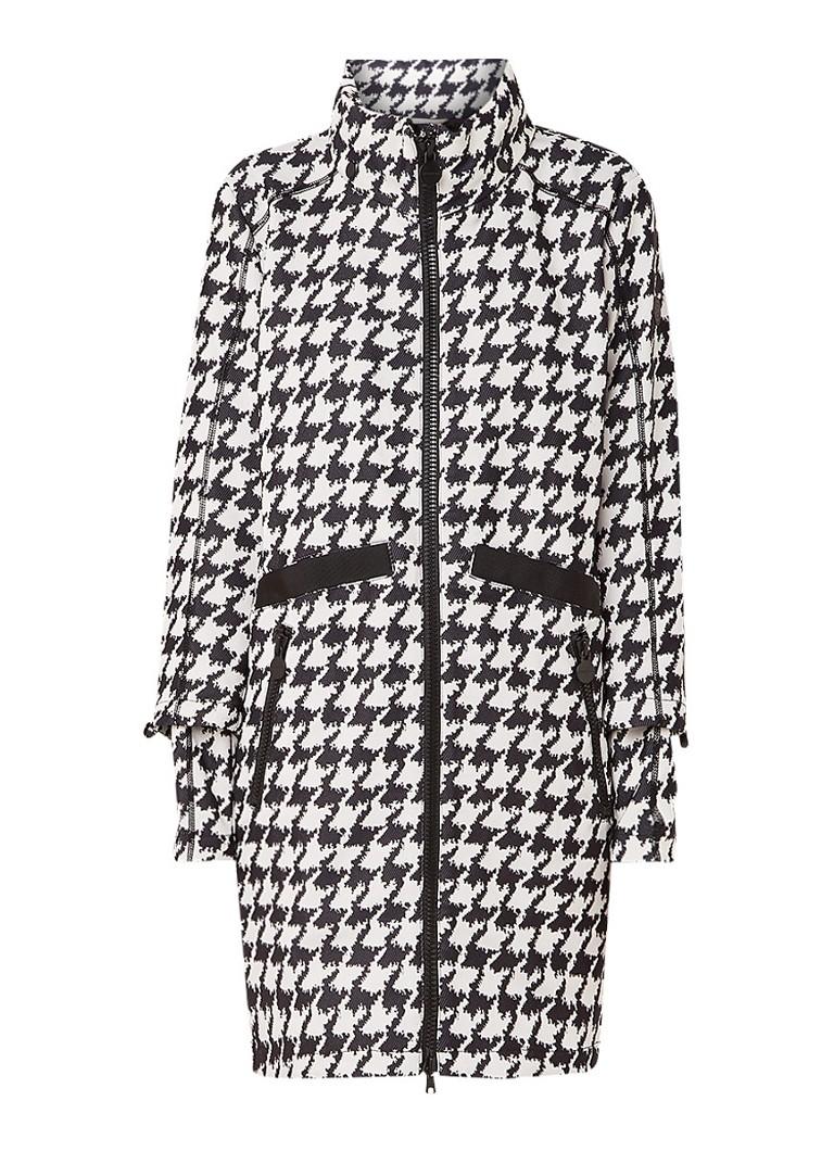 Creenstone Halflange jas met pied-de-poule dessin en verborgen capuchon