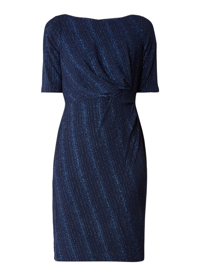 Adrianna Papell Jurk met glansdraad en draperie donkerblauw