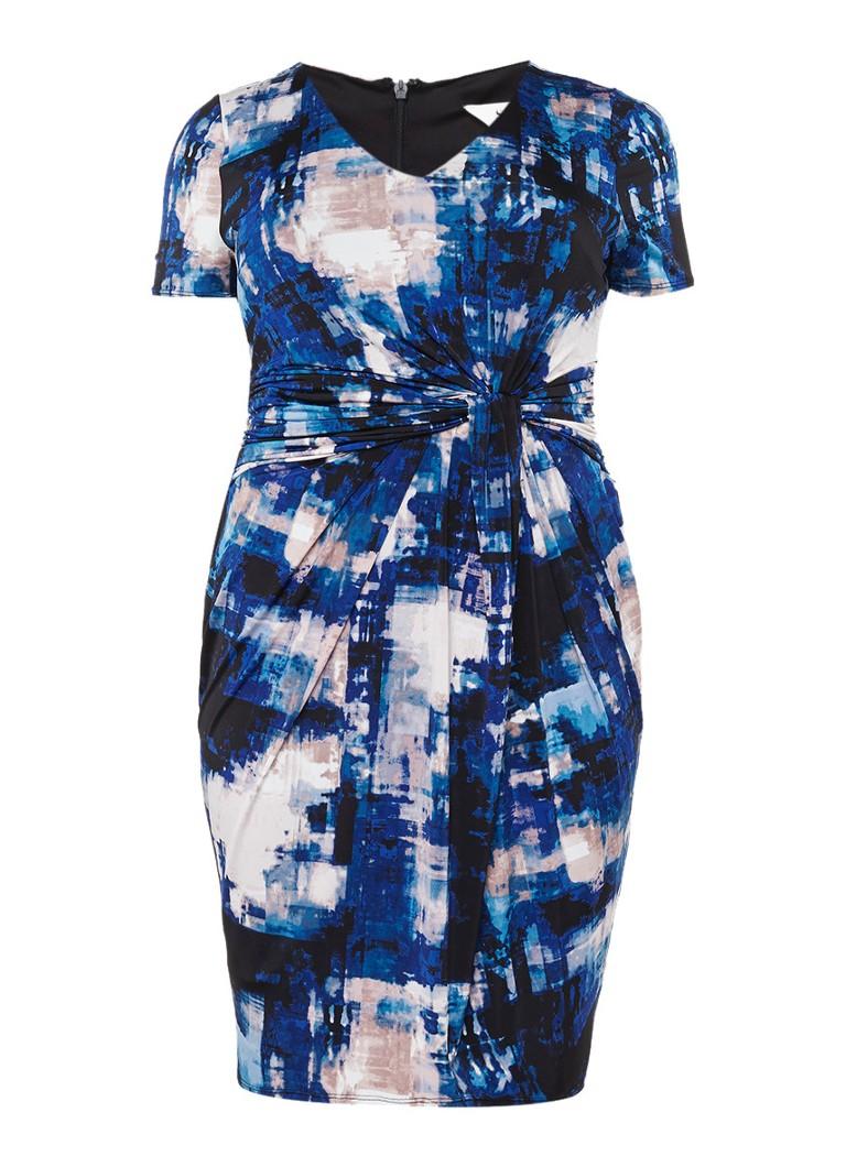 Studio 8 Joya jurk met dessin en geplooid accent blauw