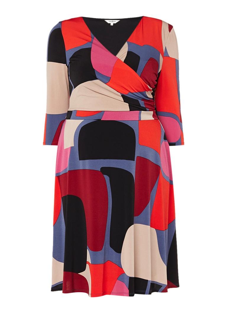 Studio 8 Aliza jurk met overslagdetail en dessin multicolor