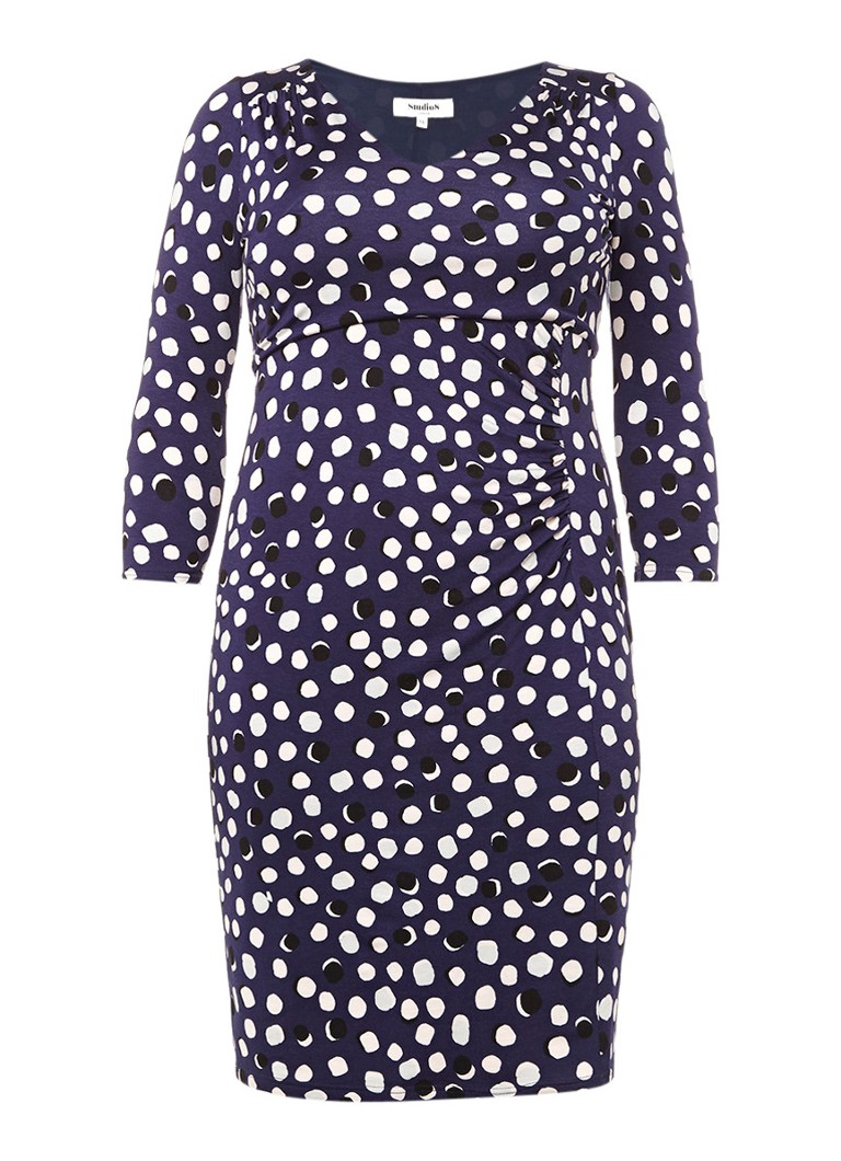 Studio 8 Avril strakke jurk met stippendessin donkerblauw