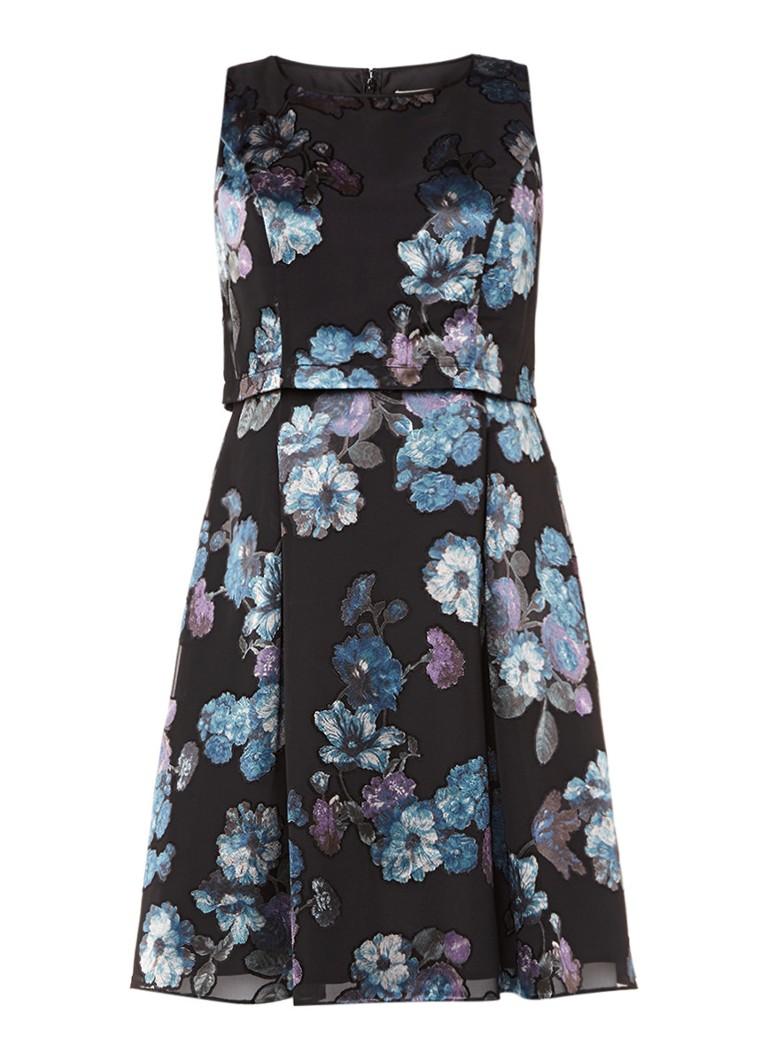 Studio 8 Lucille jurk met jaquarddessin zwart