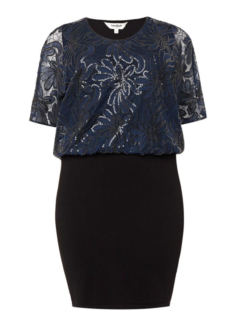 Studio 8 Roselle jurk met losvallende overlay met pailletten donkerblauw