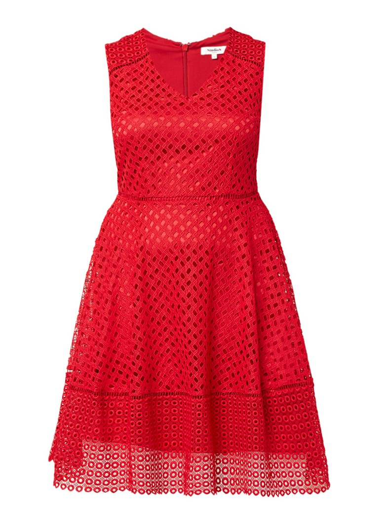Studio 8 Bailey jurk van kant rood