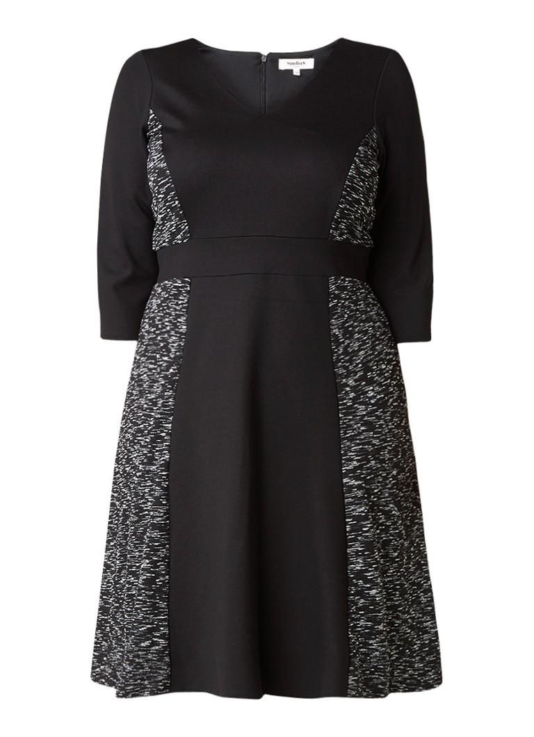 Studio 8 Evita jurk met contrasterende panelen zwart