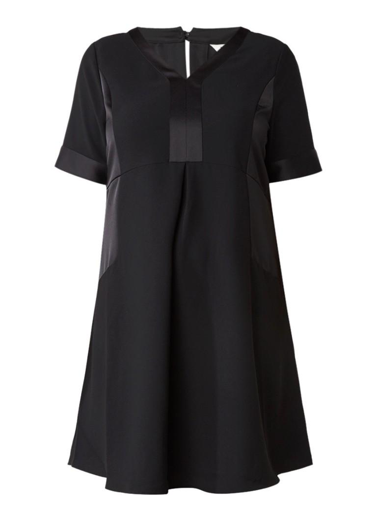Studio 8 Kelis A-lijn jurk met glanzende inzetten zwart