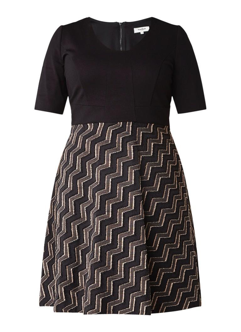 Studio 8 Carmen A-lijn jurk met halflange mouw zwart