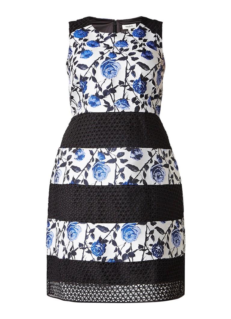 Studio 8 Naples jurk met bloemendessin en details van kant blauw