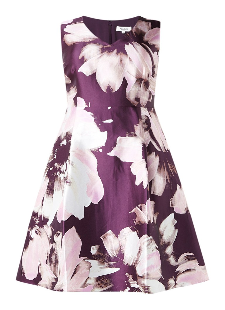 Studio 8 Frankie A-lijn jurk met bloemendessin paars