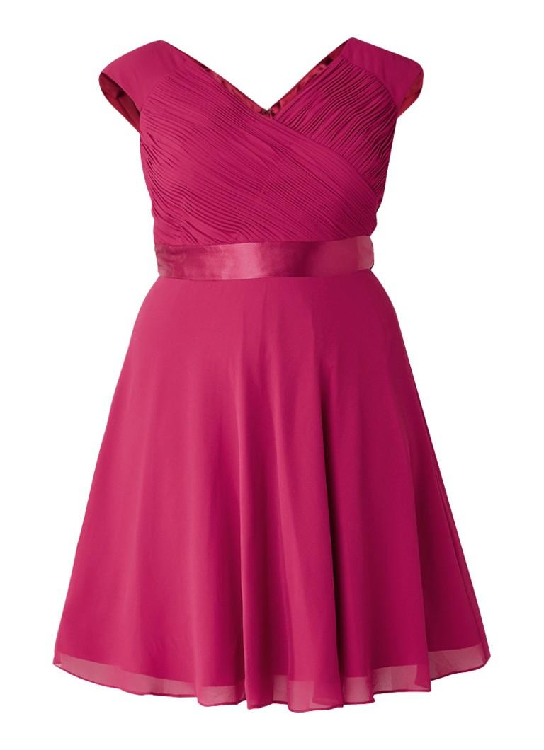 Studio 8 Anya A-lijn jurk met ceintuur en smockeffect donkerroze