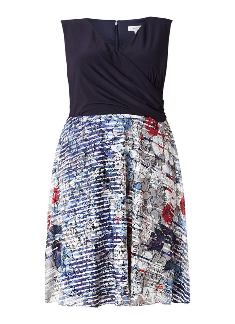Studio 8 Cecelia A-lijn jurk met geprinte rok donkerblauw