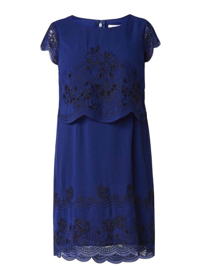 Studio 8 Marlin jurk met kant en geschulpte zoom donkerblauw